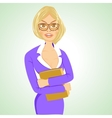 business woman with glasses standing with folder vector image vector image