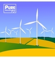 Wind turbines with landscape Eco saving vector image