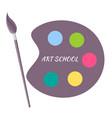 art school paints color palette with brush vector image