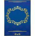 blue elegant card with golden frame vector image