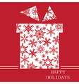Christmas gift on red with snowflakes vector image