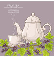 cup of black currant tea and teapot vector image