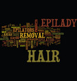 Epilady hair removal innovator text background vector image