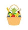 flat cartoon straw wicker basket with food vector image