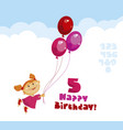 girl in pink dress with red and rosy balloons vector image