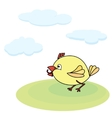little yellow chicken with worm vector image