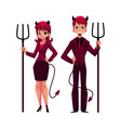 man and woman dressed as devils in business suits vector image