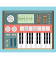 Flat old analog synthesizer vector image vector image