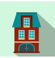 House with a mansard and garage flat icon vector image