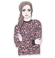 Young girl with animal print jumper vector image