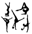 black silhouette of gymnast on white background vector image