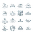 fish sea logo icons set simple style vector image