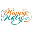 Happy holi lettering text for greeting card vector image