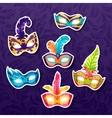 Set of celebration festival carnival masks vector image