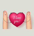 two fingers holding red heart love vector image