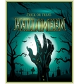 Zombie monster hand green Halloween background vector image