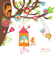 Spring floral card with birds vector image