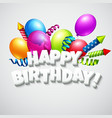Title Happy Birthday with balloons and vector image