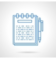 Ring notebook flat blue line icon vector image