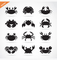 set of crab icons on white background aquatic vector image