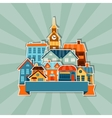 Town background design with cute colorful sticker vector image