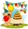 teddy bear celebrates birthday vector image