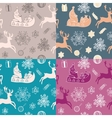 Funny winter christmas set of 4 seamless patterns vector image