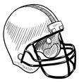 doodle football helmet vector image vector image