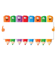 funny pencils with paper vector image vector image