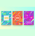 set of abstract memphis style retro background vector image vector image