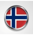 Metal button flag of Norway vector image