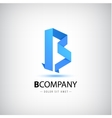 b blue letter origami logo 3d icon for vector image