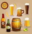Beer icons composition set poster vector image