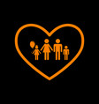 family sign in heart shape orange vector image