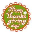 Happy Thanksgiving lettering type in round vector image