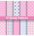 Lovely seamless patterns tiling with swatch vector image