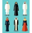 Muslim people flat icons vector image