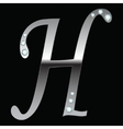 silver metallic letter H vector image