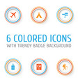 traveling icons set collection of land suitcase vector image