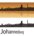 Johannesburg skyline in orange background vector image vector image