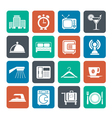 Silhouette Hotel and travel icons vector image vector image