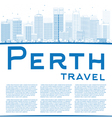 Outline Perth skyline with blue buildings vector image