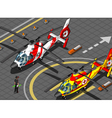 Isometric Emergency Helicopters in Front View vector image