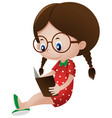 little girl reading storybook vector image