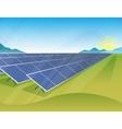 Solar panels farm in green fields during sunrise vector image