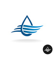 Water drop with waves elegant logo vector image