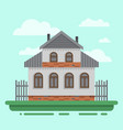 country old gray house with fence vector image