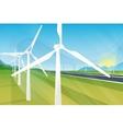 Wind turbine farm in green fields during sunrise vector image