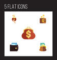 flat icon wallet set of saving pouch currency vector image