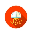 Jellyfish flat icon with long shadow vector image
